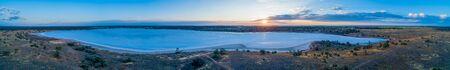 Aerial panoramic landscape of salt Lake Crosbie at sunset. Murray-Sunset National Park, Victoria, Australia