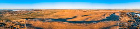 Agricultural land at sunset in Australia - wide aerial panorama Stockfoto