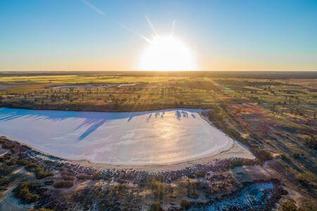 Sunset over salt Lake Hardy in Australia