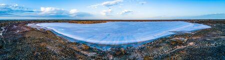 Scenic aerial panorama of salt lake in Australian outback
