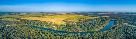 Long stretch of Murray River - wide aerial panorama
