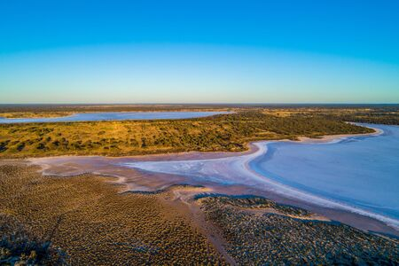 Salt lakes in Murray-Sunset National Park at sunset - aerial view 스톡 콘텐츠