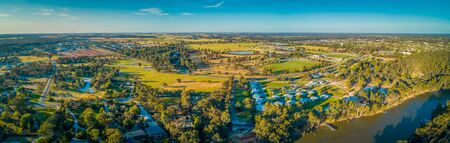 Wide aerial panoramic landscape of Moama in New South Wales, Australia