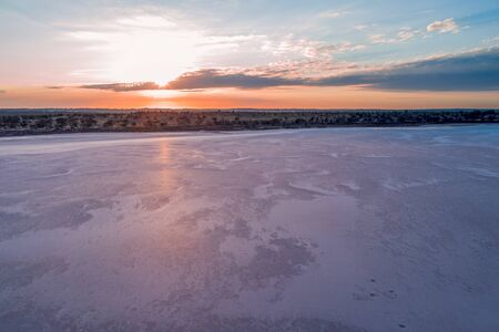 Sunrise over pink salt lake Crosbie in Victoria, Australia