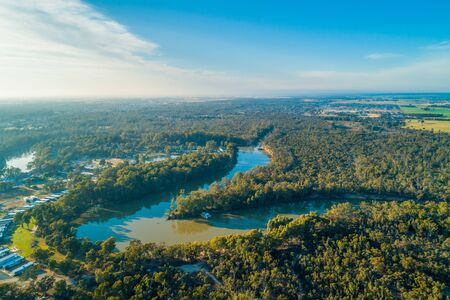 Murray River at sunset - aerial landscape
