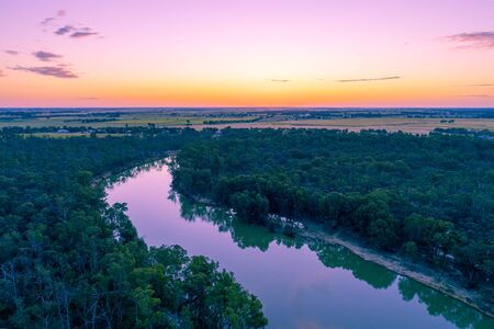 Aerial view of Murray River at dusk. Moama, NSW, Australia