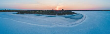 Lake Crosbie at sunset - wide aerial panorama