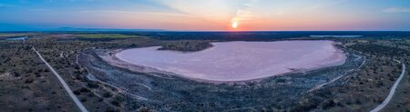 Wide aerial panorama of Lake Crosbie - pink lake in Murray-Sunset National Park, Victoria, Australia Stok Fotoğraf