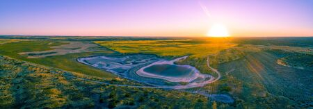 Agricultural land at sunset in Australia - aerial panoramic landscape Stok Fotoğraf