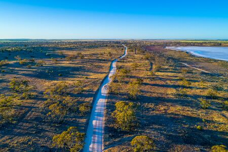 Unsealed road passing through Murray-Sunset National Park in Australia Stok Fotoğraf