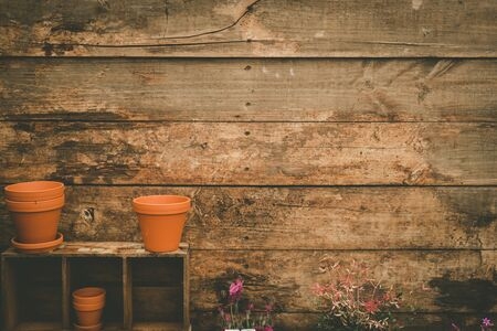 Empty flower pots on wooden shelves against rustic wooden planks with copy space Stok Fotoğraf