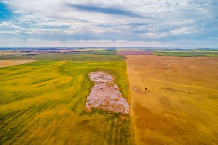 Fields and pastures in Australia - aerial landscape Stok Fotoğraf
