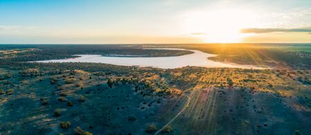 Sunrise over salt lake Kenyon in Australia - aerial panoramic landscape Stok Fotoğraf