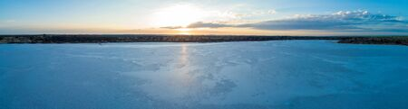Wide aerial panorama of salt Lake Crosbie at sunrise. Murray-Sunset National Park, Australia Stok Fotoğraf