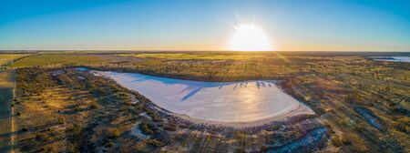 Sunset over salt Lake Hardy in Australia - aerial panoramic landscape