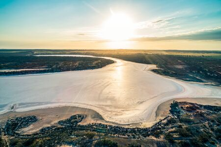Sunrise over lake Kenyon in Australia - aerial view