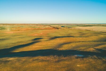 Pastures at sunset in Australia - aerial view Stok Fotoğraf