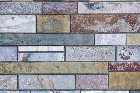 Modern design marble brick wall background texture with copy space Фото со стока