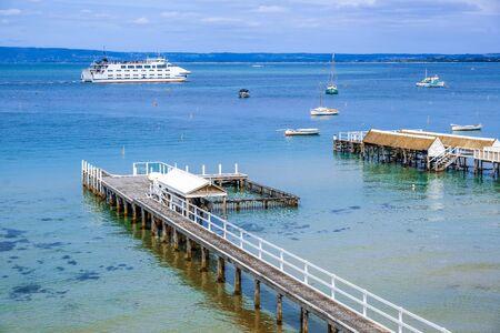 Passenger ferry crossing Port Phillip Bay. Mornington Peninsula, Melbourne, Australia