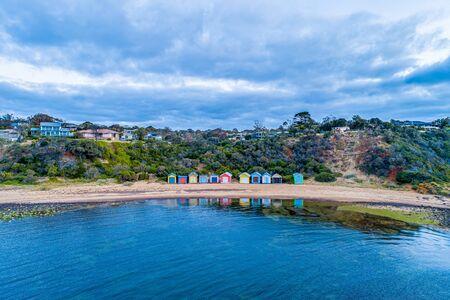 Beach huts on Ranelagh Beach at Mount Eliza, Victoria, Australia - aerial view