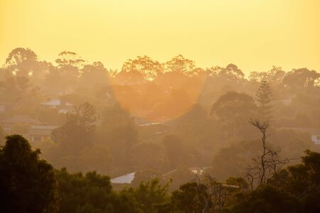 Smoke haze covering houses in the Greater Melbourne area as result of bush fires in Victoria Stock Photo