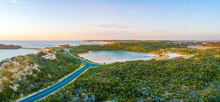 Aerial panorama of Pool of Siloam - small lake seven times saltier than the sea. Beachport, South Australia