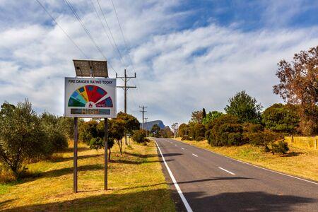 Fire danger rating sign showing High in Australian outback roadside