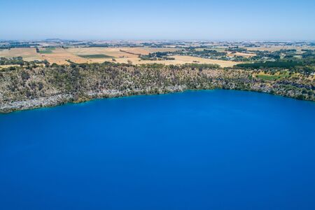 Aerial view of the Blue Lake - famous tourist attraction of Mount Gambier, South Australia