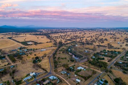 Aerial view of Australian countryside at sunset