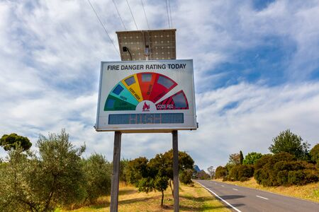 Closeup of High Fire Danger Rating sign on rural road in Australia