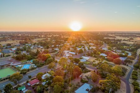 Small township of Dunkeld at sunset - aerial view