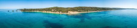 180 degrees aerial panorama of ocean coastline in Australia