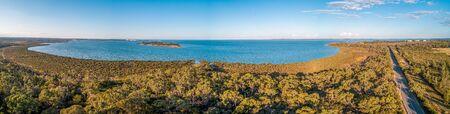 Wide panorama coastal wetlands at Western Port Bay in Victoria, Australia