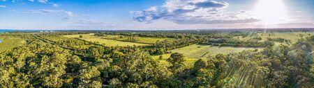 Scenic landscape of agricultural land and native trees on Mornington Peninsula, Victoria, Australia Stock Photo