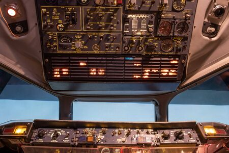 Detail shot of old aircraft simulator cockpit