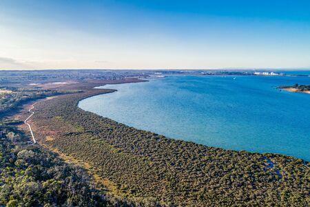 Western Port Bay and coastal wetlands in Victoria, Australia - aerial view