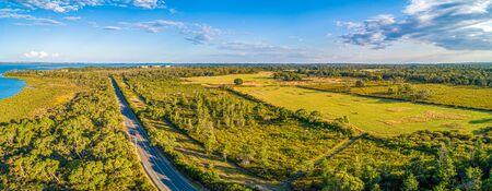 Aerial panorama of beautiful farmland in Victoria, Australia