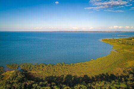 Aerial view of coastal wetlands in Hastings, Victoria, Australia