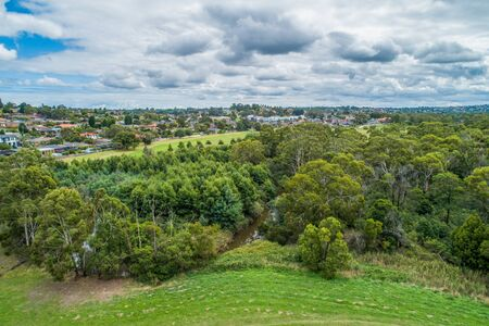 Aerial view of Rowville reserve in Melbourne, Australia