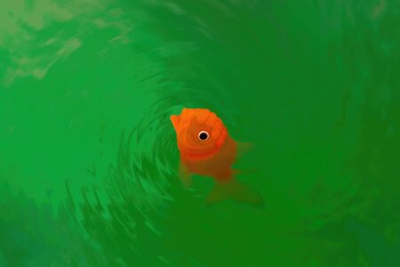 Closeup of goldfish plastic toy making ripples in green water with copy space Banco de Imagens - 146506475