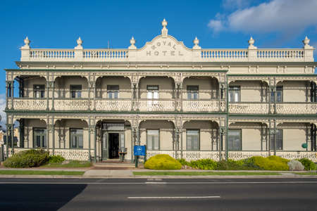 Melbourne, Australia - circa May, 2020: The Royal Hotel façade in Mornington suburb.