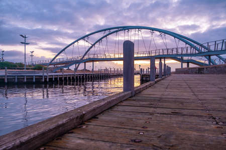 Famous footbridge in Frankston at sunset. Melbourne, Australia 版權商用圖片