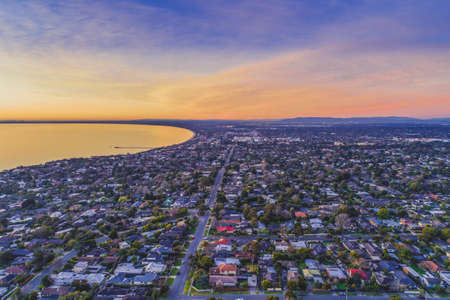 Frankston suburb at sunset - aerial landscape 版權商用圖片