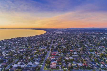 Frankston suburb at sunset - aerial landscape Stockfoto