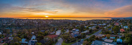 Aerial panorama Frankston Suburb at sunset in Melbourne, Australia 版權商用圖片