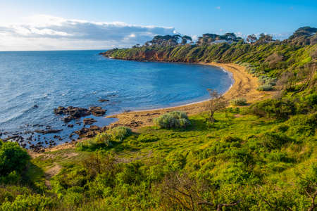 Scenic secluded ocean bay on Mornington Peninsula - beautiful landscape 版權商用圖片
