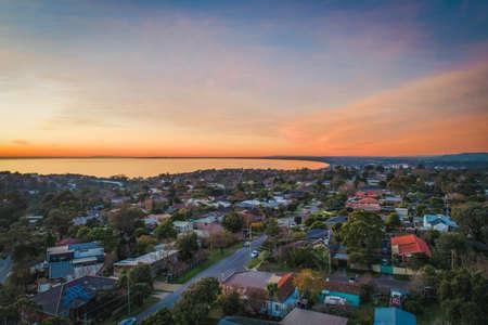 Frankston suburb at dusk - aerial landscape. Melbourne, Australia