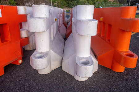 Plastic temporary road fence parts - closeup