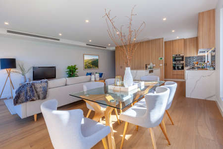 Dining table in a modern living room interior design