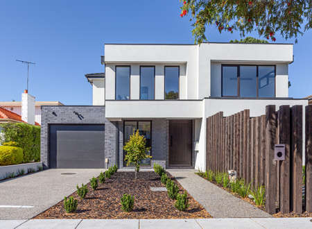 Front view of modern townhouse entrance in Melbourne, Australia